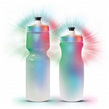 H2 Glow Drink Bottle. World first flashing drink bottles that emit an array of red, green & blue light from powerful LED's with 3 different display sequences.  The cap has non replaceable batteries tested for up to 50 hours of continuous use.